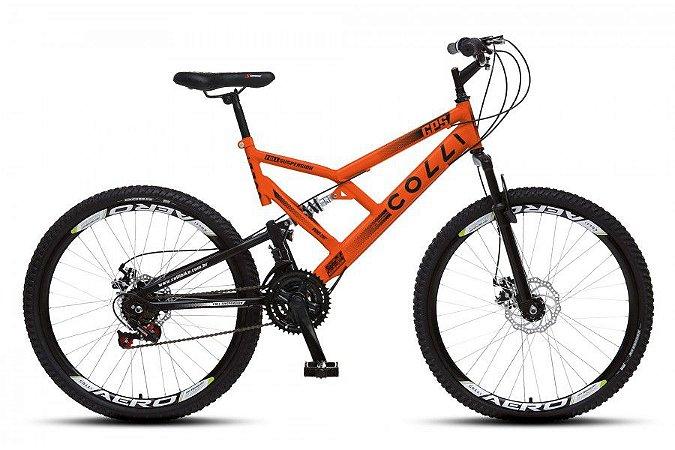 Bicicleta Colli GPS dupla suspensão 21m Aro 26 36R- Laranja Neon