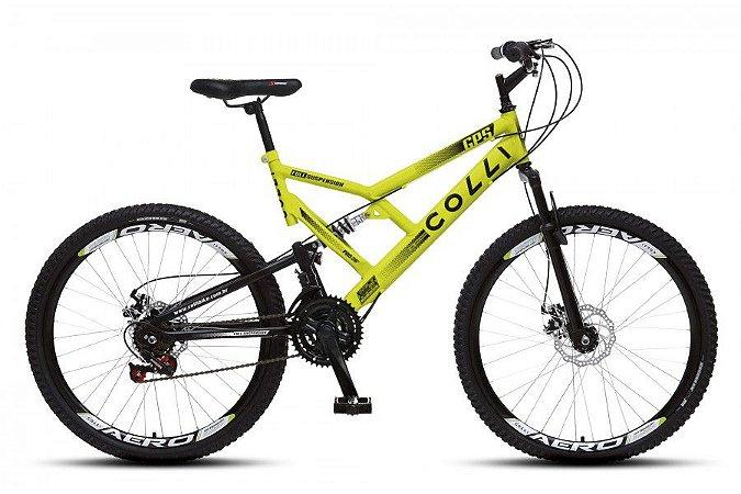 Bicicleta Colli GPS dupla suspensão 21m Aro 26 36R- Amarelo neon