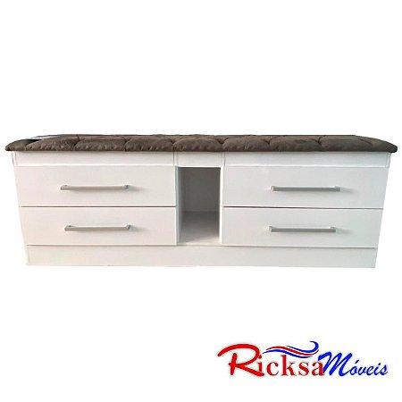 Calçadeira Ricksa Moveis estofada 4 gavetas c/nicho 1,58- Branco