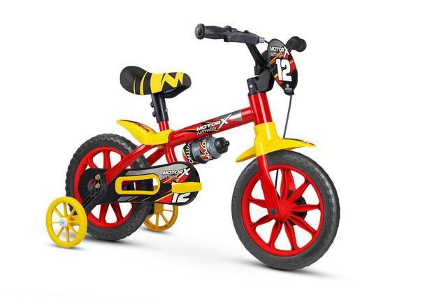 Bicicleta Nathor  Motor X Infantil Aro 12 masculina- Vermelha/Amarelo