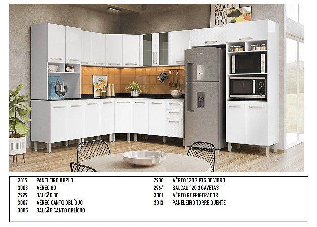 Armario de cozinha Nicioli canto 9 peças- Branco