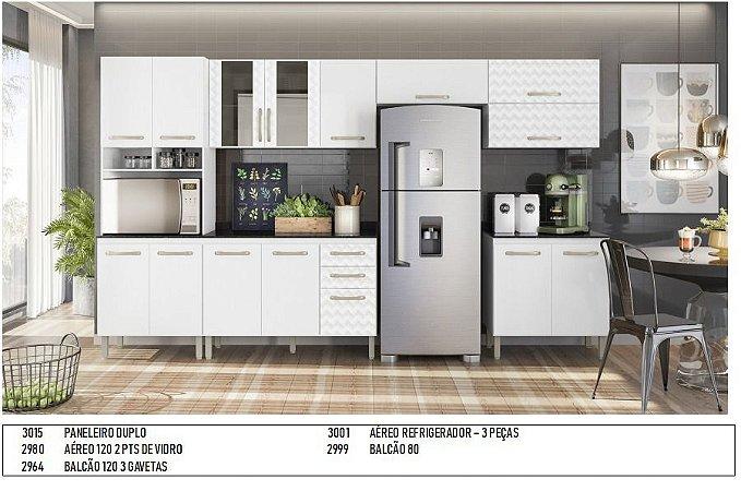 Armário de cozinha Nicioli Loá 7 peças- Branco