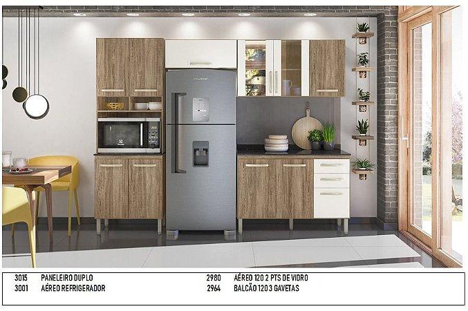 Armário de cozinha Nicioli Loá 4 peças- carvalho Rustico