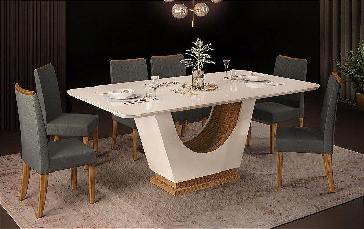 Mesa de jantar 6 cadeiras DJ Moveis Flora - Off white/Carvalho Nobre com cadeira Elis  Carvalho Nobre/ Suede Chumbo
