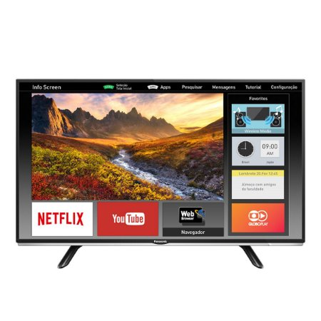 "Smart TV LED 40"" Panasonic Viera TC-40DS600B Full HD 2 HDMI 1 USB Preta com Conversor Digital Integrado"