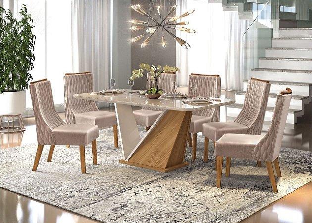 Mesa de jantar 6 cadeiras DJ Moveis Forme- Carvalho Nobre com cadeira Lia Carvalho Nobre/ Veludo Kraft
