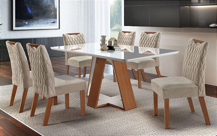 Mesa de Jantar Grécia LJ moveis 6 cadeiras Grécia tecido 133- Castanho fosco/ Laka/ Off White