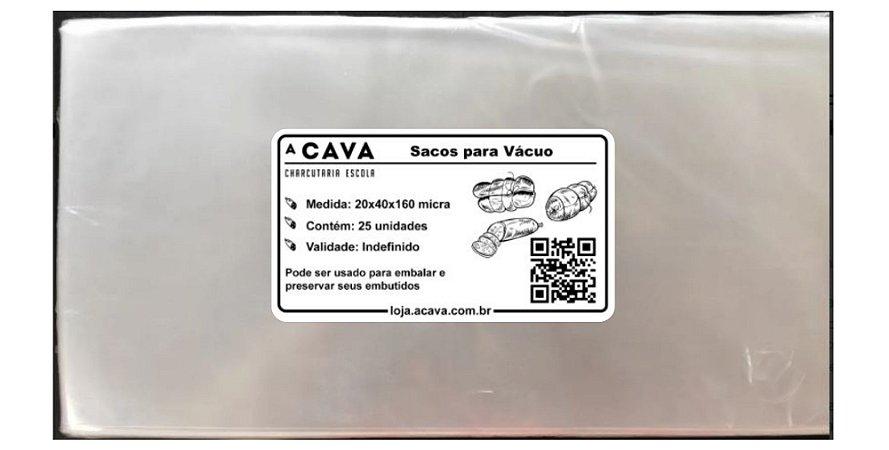 Saco à Vácuo 20x40cm - pacote com 25 unidades