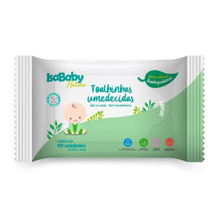 Toalhas Umedecidas Biodegradáveis 50 unidades - IsaBaby Nature