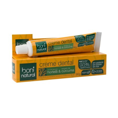 Creme Dental Natural Hortelã e Cúrcuma 90g - Boni Natural