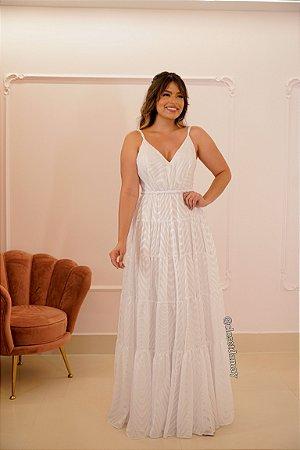 Vestido de noiva longo em chiffon bordado