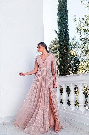 Vestido de lurex, leve brilho, com bojo. Para formandas, madrinhas e convidadas