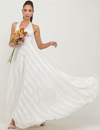 Vestido de noiva longo, litrado, decote baixo e saia flúida