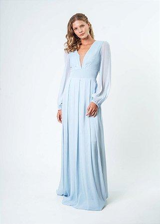 Vestido de festa longo, com decote em tule, manga longa e saia em pregas