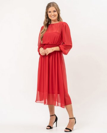 Vestido de festa lady like, com manga longa e marcação na cintura