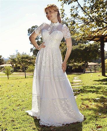 Vestido Clara, noiva longo branco de renda com tule e aplicações