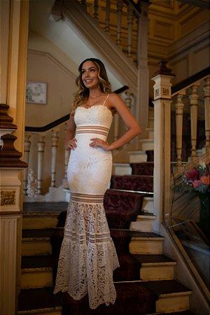Vestido mix de renda noiva branco