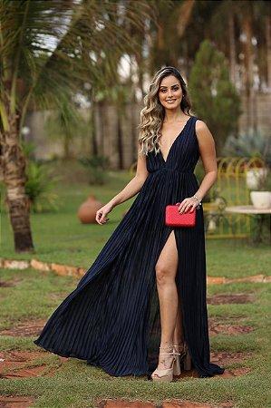 Vestido  longo plissado brilhante