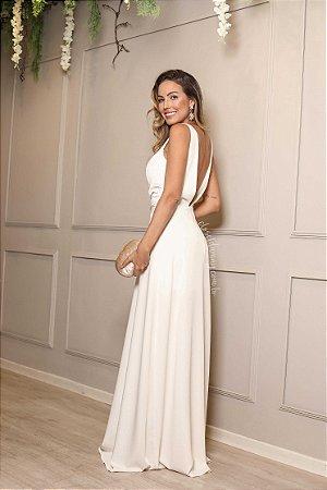 9db17a353 Vestido longo festa branco com fenda e decote. - closetdamay loja de ...