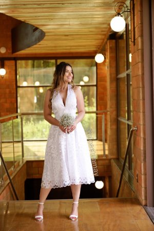 Vestido noiva midi renda com cinto