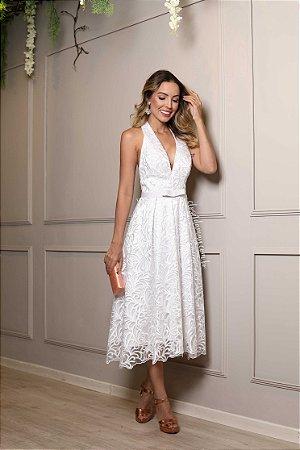c40b5c7fc7 Vestido noiva midi renda com cinto