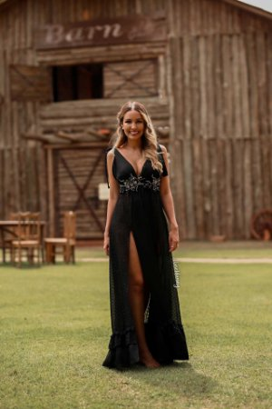 Vestido longo bordado com brilho