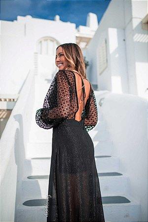Vestido longo manga longa de renda preto