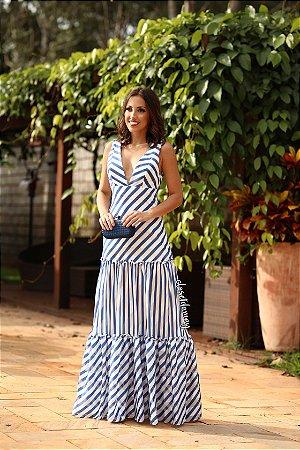 Vestido longo listrado azul