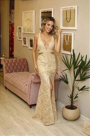 Vestido longo renda dourada
