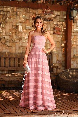 Vestido longo tomara que caia listrado, madrinha de casamento, formatura, aniversario