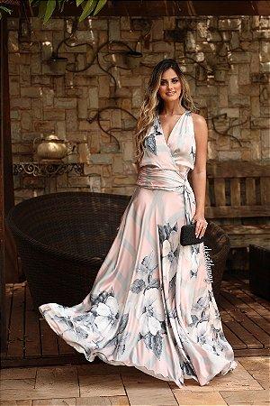 Vestido de festa longo estampado com decote