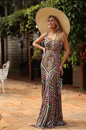 Vestido estampado longo