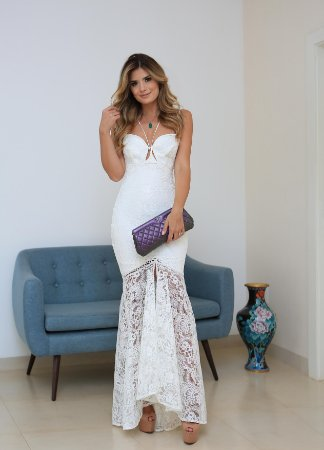 Vestido de noiva longo alça renda