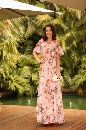 Vestido longo com estampa floral manga com faixa