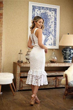 2e5a4a51e2 Vestido midi renda com amarrações - closetdamay loja de vestidos