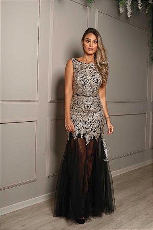 adc8e232b Vestido longo barrado tule preto - closetdamay loja de vestidos