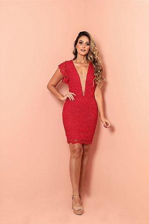 Vestido de renda longo com forro vermelho