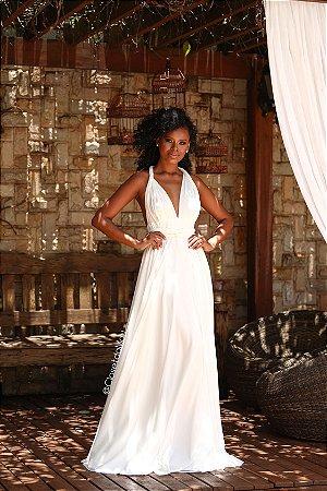 Vestido de noiva longo de amarrações