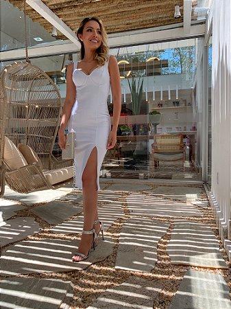 Vestido midi fenda branco