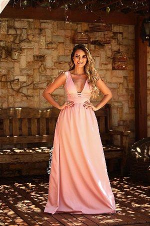 Vestido longo de festa decote rosê
