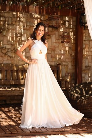 Vestido noiva longo chiffon busto cruzado