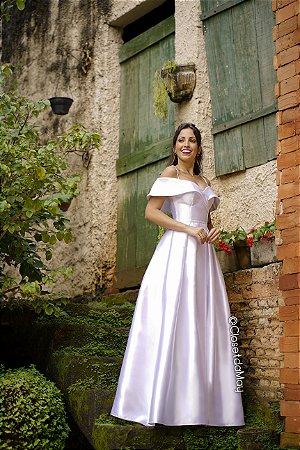 Vestido de noiva longo princesa tafetá pre wedding, casamento civil e religioso