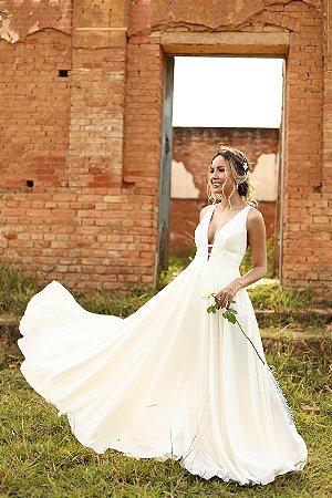 Vestido de noiva longo de tiras amarração nas costas, pre-wedding, batizado