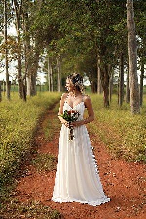 Vestido de noiva longo de alça, pre-weddin, batizado