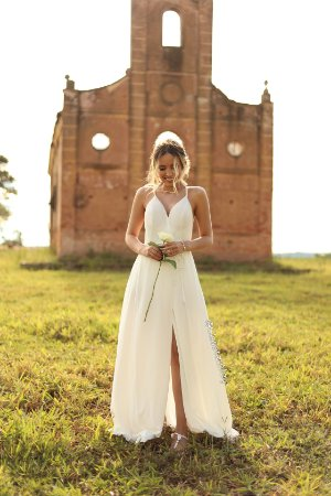 Vestido De Noiva Alça Trança Macramê Pre Wedding Batizado