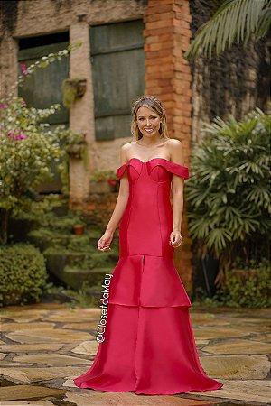 Vestido de festa longo tafetá ombro a ombro, formatura, casamento, madrinha