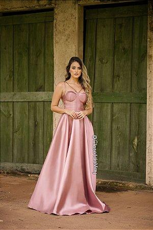 Vestido de festa longo de tafetá alças, casamento, madrinha, formatura.