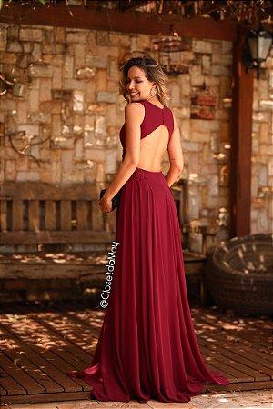 Vestido longo de festa decote pedrarias, madrinha de casamento, formatura