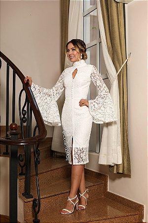 vestido de noiva midi gola alta manga aberta, casamento civil, batizado, pre-wedding