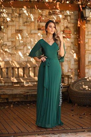 766b293eebff Vestido longo de festa saia plissado, madrinha casamento, formatura,  aniversário